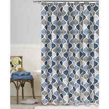 """BOHO Chic Fabric Shower Curtain Blue-Gray Chambray Ogee Hourglass Pattern 72"""""""