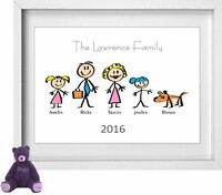 FAMILY NAME | Personalised Picture | Stick People Figures | FREE POST | (NP154)