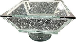 Silver Glass Sparkle Ornament Bling Crushed Diamond Kitchen Fruit Bowl Home Deco