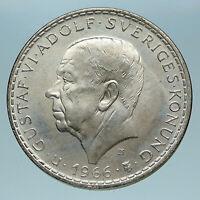1966 SWEDEN King GUSTAV VI ADOLF 5 Kronor LARGE Silver SWEDISH Coin  i83481