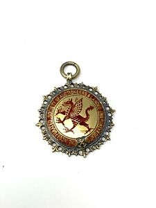 Heavy Antique WW2 C1939 Solid Silver Wales Masonic Fob Pendant Medal 18g #1576