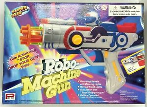 90s Robot Machine Gun toy with lights, noise, rotating barrel, electric
