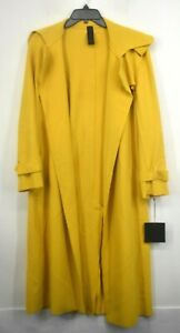 Norma Kamali Womens Gold Open Front Self Tie Belt Double Breasted Trench Coat S