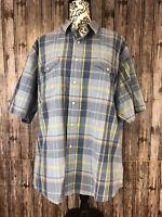 wrangler mens pearl snap Short Sleeve  Blue Plaid Western Shirt Size XL