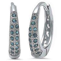 Beautiful Aquamarine Huggie Hoop Stud Earrings in Solid Sterling Silver