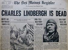 8-1974  AUGUST 27 LINDBERGH IS DEAD - SOLO FLIGHT HERO DES MOINES REGISTER IOWA