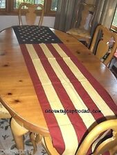 "US Flag 90"" x 20""  Tea Stained TABLE RUNNER / Panel ~"
