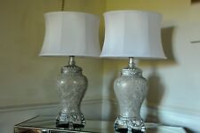 Regency Large Table Lamp 79cm sparkle Mosaic  bsae Fabric shade