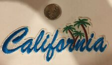"""Embroidered Iron On Patch - """"California""""  5 1/2""""x 2"""" AQUA BLUE/ Awesome!!"""