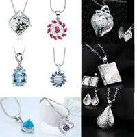 Fashion Jewelry 925 Filled Silver Heart Pendant Chain Necklace Crystal Charm