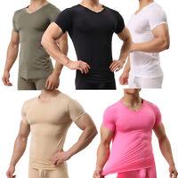 Men Soft Tops Undershirt Tee T-Shirt Sheer Gym Sports Shortsleeve Blouse Solid
