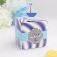 20x Baby on Board Sail Pattern Baby Shower Favors Candy Gift Box Birthday Party