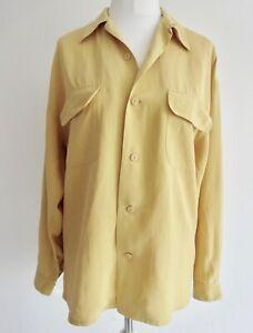 EQUIPMENT yellow silk button through collared shirt blouse light mustard *flaws*