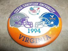 "1994 Independence Bowl 3 1/2 "" Pinback Button .... TCU & Virginia"