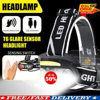 T6 COB 6/8LED Headlamp USB Rechargeable Headlight Lighting Modes Head Torch UK!!