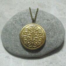 Ornate Round Locket Necklace Jewelry Antique Bronze