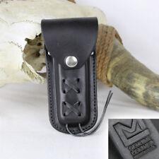 Messertasche Holster Messer Taschenmesser Schwarz Etui Echt Leder Schnürung USA