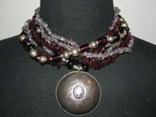 Sterling Silver Amethyst Pendant with Glass Beads Amethyst and Garnet Chip Beads