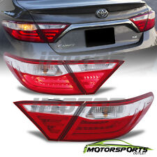 2015 2016 Toyota Camry Red Sedan 4Dr Red Clear Rear LED Brake Tail Lights Pair