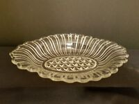 Vintage Pickle Relish Candy Dish ANCHOR HOCKING Ribbed Pressed Glass Diamond Cut