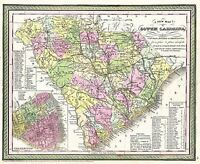 MAP ANTIQUE 1850 MITCHELL SOUTH CAROLINA STATE LARGE REPRO POSTER PRINT PAM1711