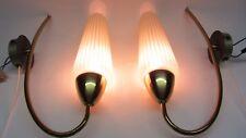 Paar Tüten Wand Lampe Messing Glas Rockabilly '50er Jahre