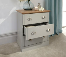 Sleek Modern Grey and Oak 3 Drawer Chest with Brushed Steel Handles