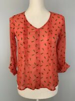 Mossimo Womens Button Down Top Blouse Size XS Orange Pleated Scoop Neck Sheer