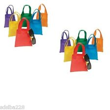 "NEW 12 Poly Non-Woven Tote Bags 6"" Assorted Colors Party Bag rainbow"