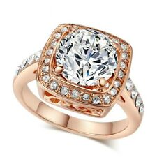 Gorgeous Rose Gold Plated White Cubic Zircon White Austrian Crystal Ring Size 10