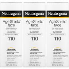 3 Pack Neutrogena Age Shield Face Oil Free Lotion Sunscreen SPF 110 3.oz Each