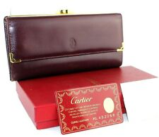 AUTHENTIC CARTIER PARIS BURGUNDY LEATHER MULTI CHAMBER LONG WALLET CARD PURSE