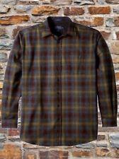 Pendleton Mens XL Lodge Virgin Wool Shirt Maroon Bronze Ombré Plaid Nwt