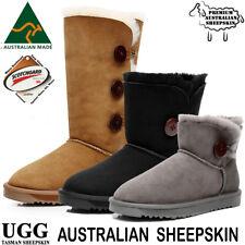 Women's Ugg Boots Australia Classic Bailey Black Chestnut Sheepskin Suede Uggs
