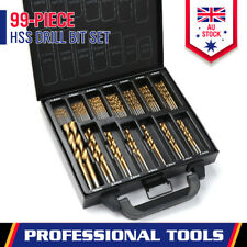 99-Pieces HSS Drill Bit Set Metric 1.5-10mm Titanium Coated Metal Wood Plastic