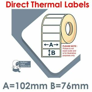 1,000 102 x 76mm WHITE Direct Thermal Printer Labels