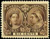 Canada #55 mint VF OG 1897 Queen Victoria 5c yellow brown Diamond Jubilee JUMBO!