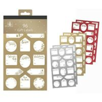 96 GOLD/Silver/Red Labels Christmas Tag STICKER Gift Tags Name Xmas Present Deck