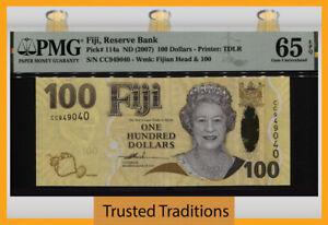 TT PK 114a ND (2007) FIJI 100 DOLLARS QUEEN ELIZABETH II PMG 65 EPQ GEM UNC!