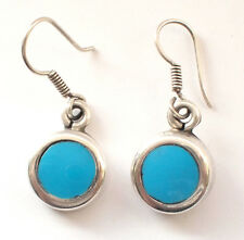 Stunning 925 Sterling Silver Ear Rings Dangling Round Turquoise Mexico Drop