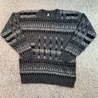 VINTAGE Grey Patterned Knit Jumper Pullover Mens Medium