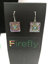 FIREFLY Multicolor Mosaic Square Drop Earrings - Silver Light Blue (E27)