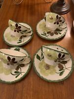 Blue Ridge Coffee Cup And Saucer Set Of 4~Hand Painted Green Brown Florals