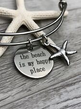 "The Beach is my happy place Stainless Steel charms ""Open Style Expandabl Bangle"