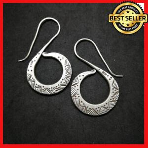 Fine 925 Silver Earrings Spiral sticky windy texture long drop ER1102 AUCmon