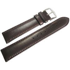 22mm Hirsch Merino Mens Brown Smooth Nappa Sheepskin Leather Watch Band Strap