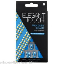 ELEGANT TOUCH 24 short length accent studded false nails in blue man over board