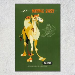Middle East by Qantas Vintage Art Poster Print. Great Home/Shop Decor