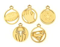 Superhero Super Hero Christmas Craft Wooden MDF Bauble Decorations - Set of 5