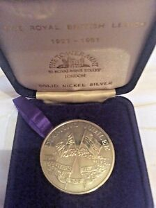 VERY RARE BRITISH LEGION DIAMOND JUBILEE  SILVER CASED MEDALLION TOWER MINT